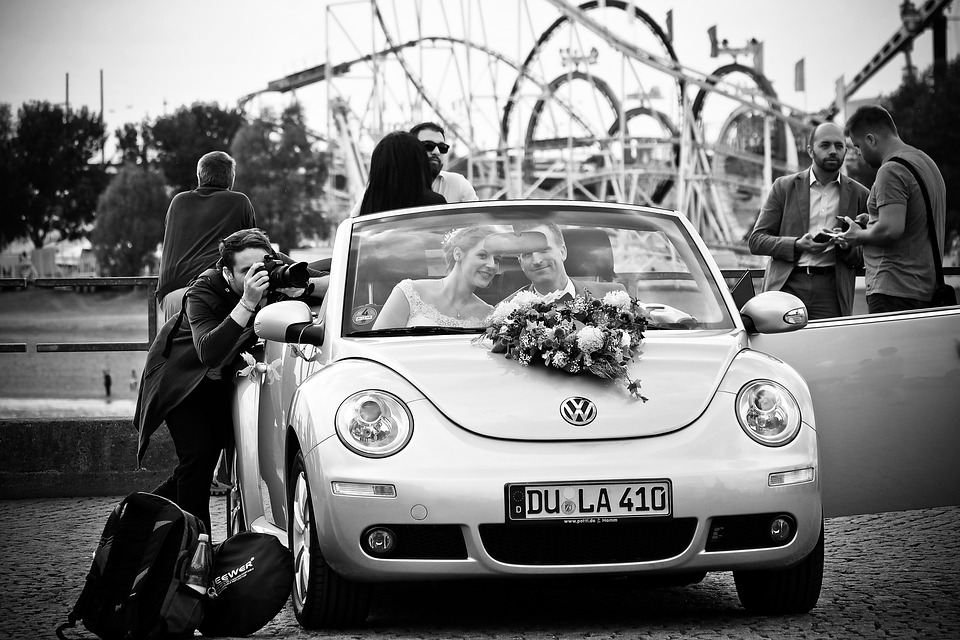 wedding photo with car