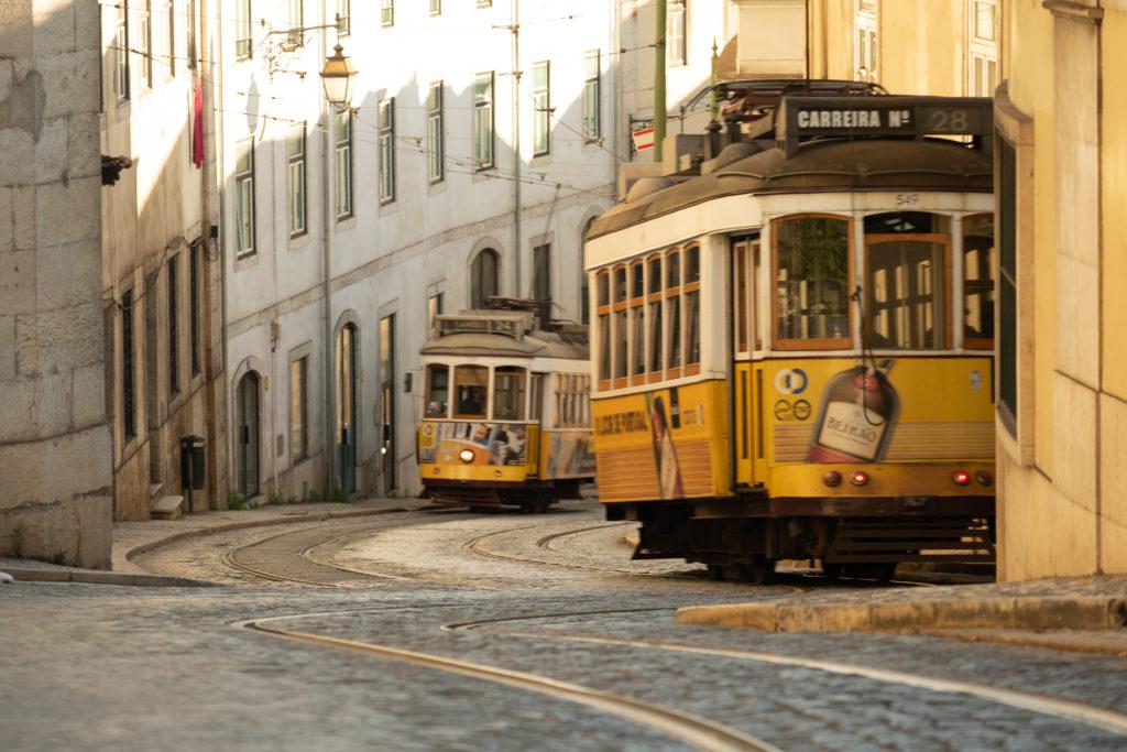 Two Lisbon street trams at dawn