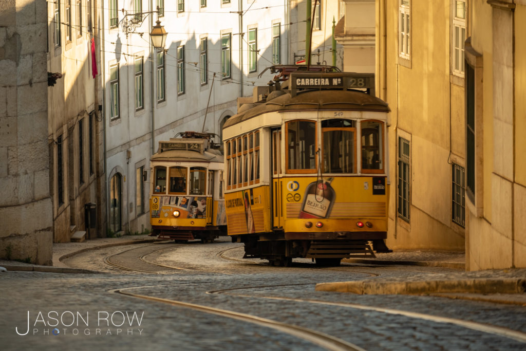 Two trams in Lisbon