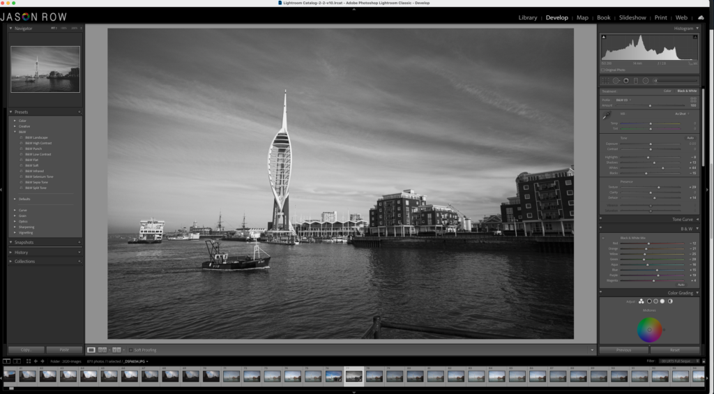 Black and White image of Portsmouth seen in Lightroom