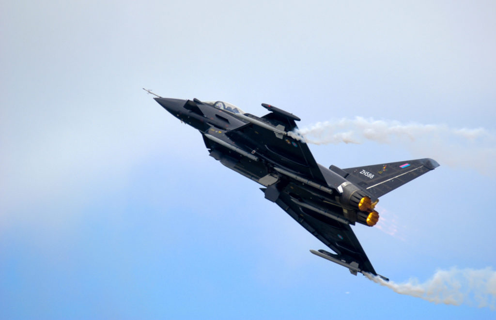 Eurofighter Typhoon on afterburner.