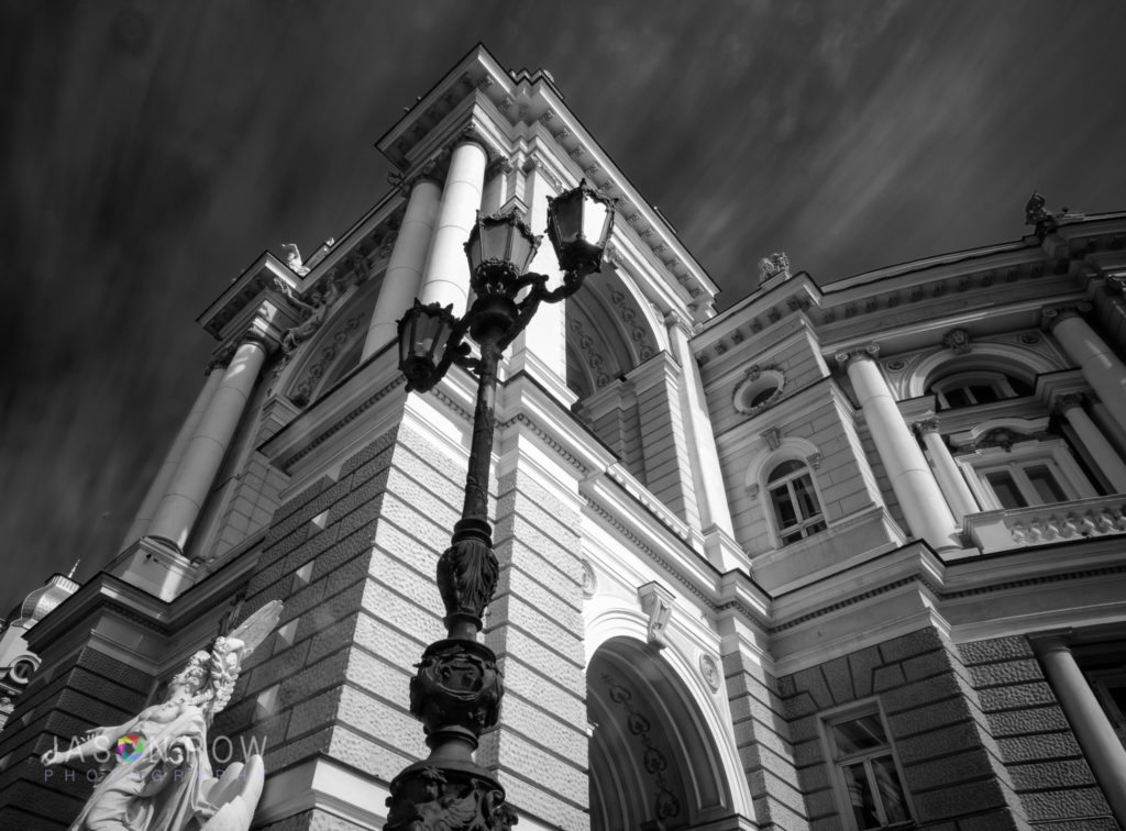 Angled long exposure, monochrome shot of Odessa Opera House