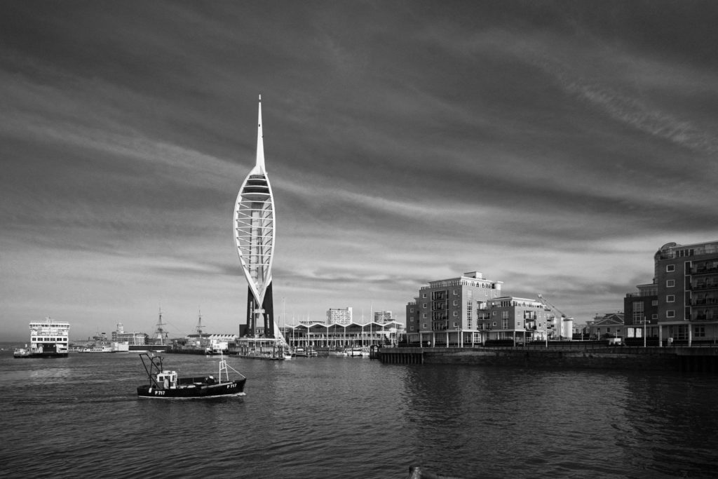 Portsmouth and the Millennium Tower in black and white