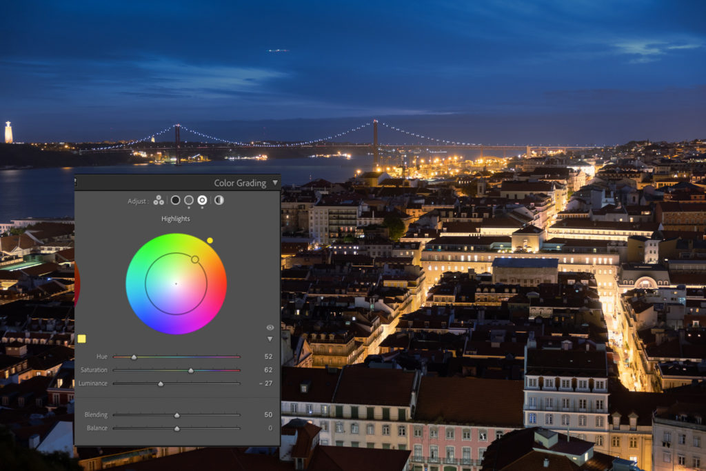The highlights color wheel in Adobe Lightroom