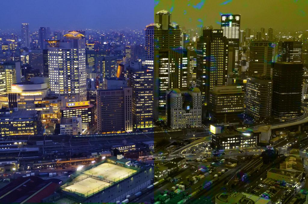 Cityscape demonstrating hue blend mode