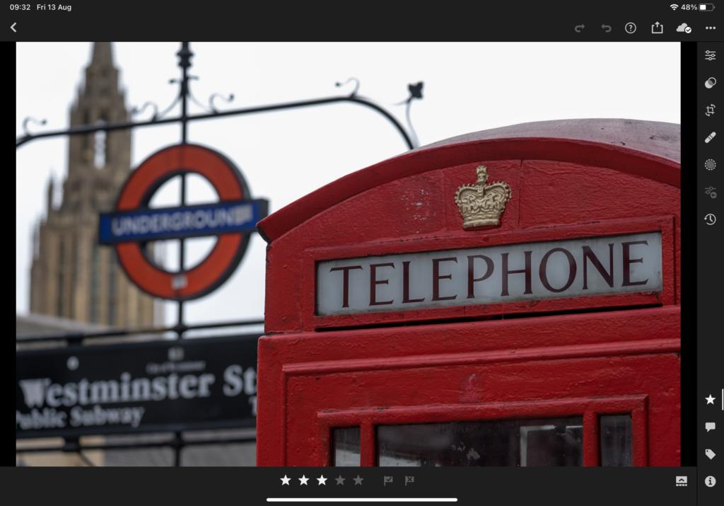 Red Telephone Box on iPad Screen