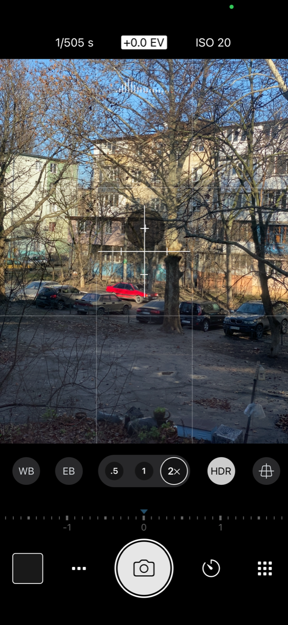 Screenshot of the Procamera app on iPhone 11 Pro