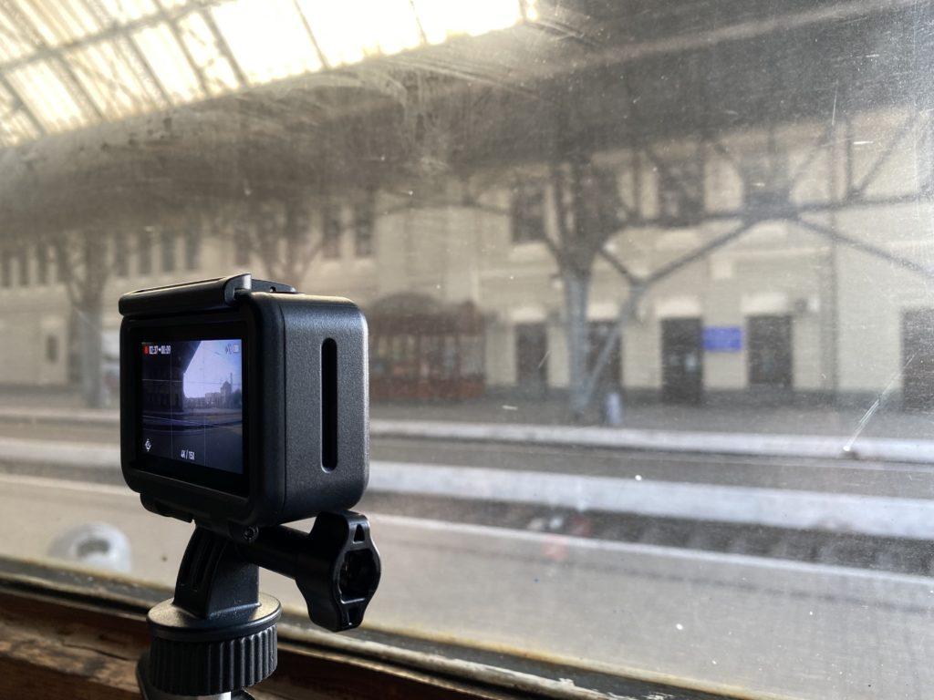 DJI Osmo Action at train window