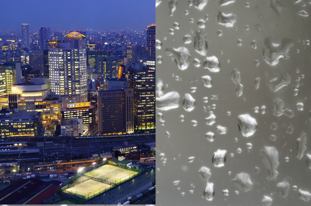 Split screen of rain textures and cityscape