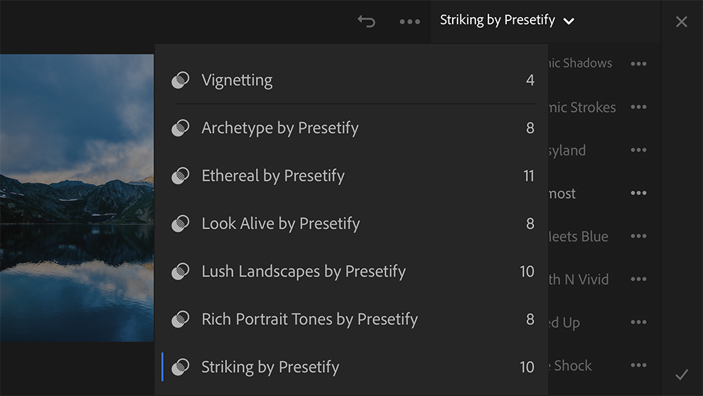 """Tap on the small """"down"""" arrow next to the folder name to see the list of preset folders that have synced with Lightroom mobile app"""