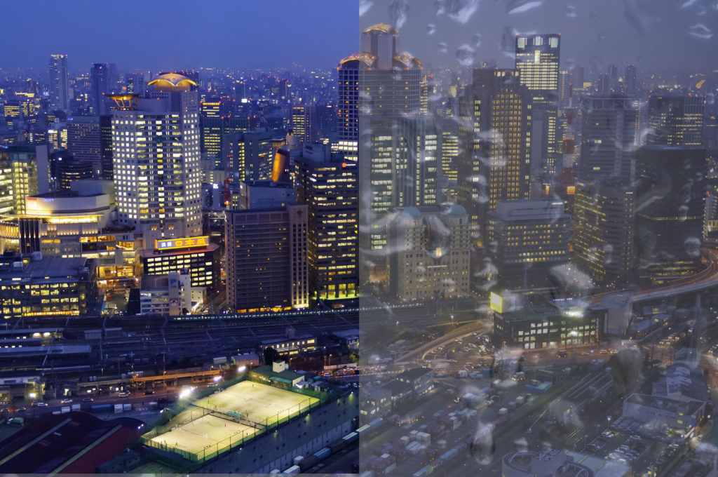 Rain texture overlying picture of Osaka
