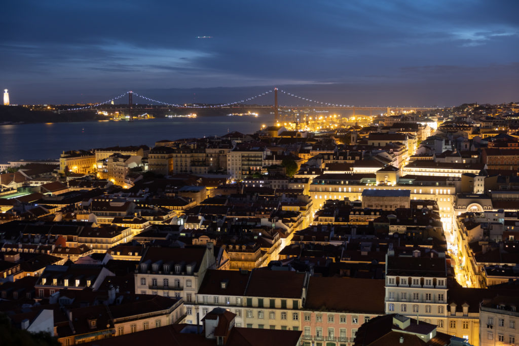 Blue hour cityscape of Lisbon Portugal