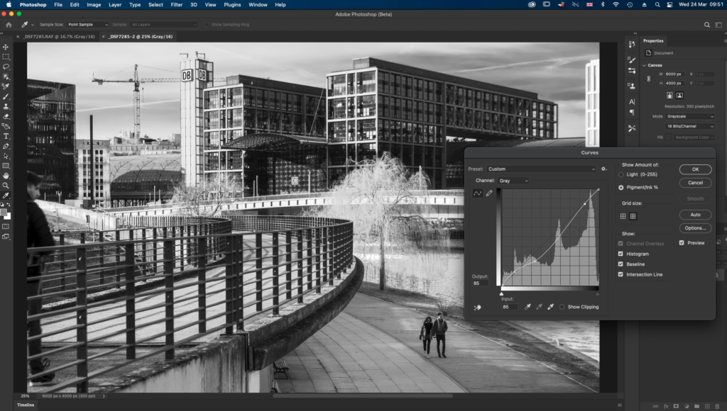 Using the curve tool on a monochrome image in Photoshop