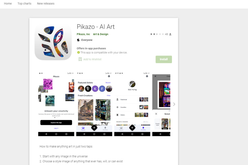 pikazo app for turning images into paintings