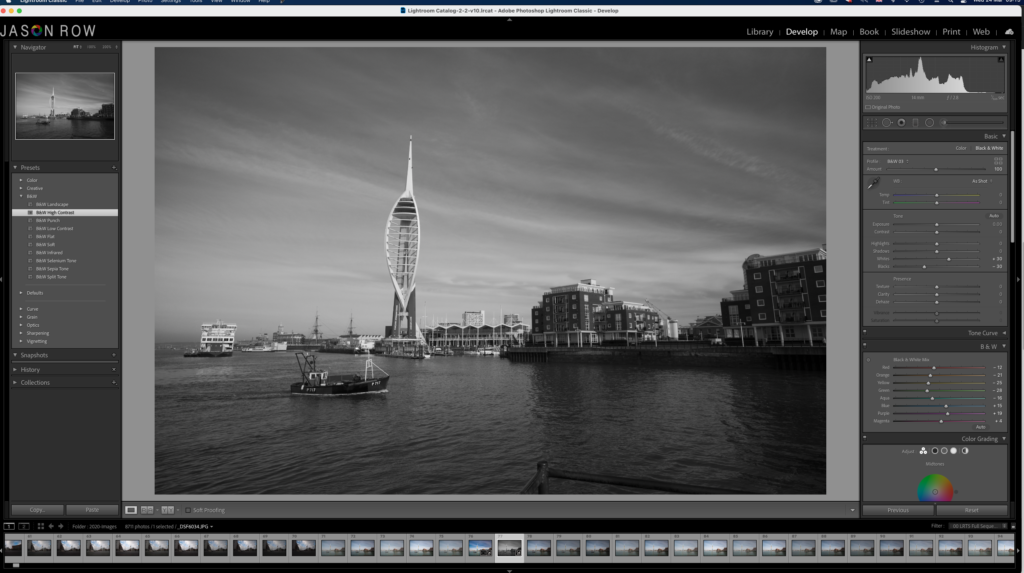 Black and white image in Lightroom