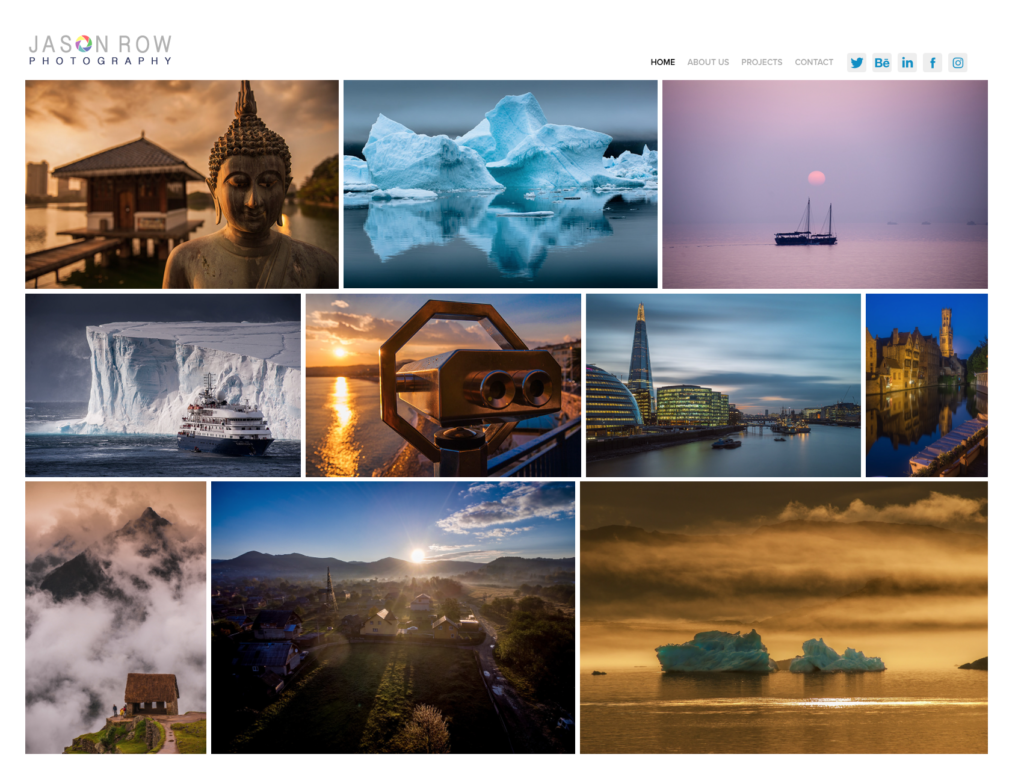 Screenshot of photographer's website