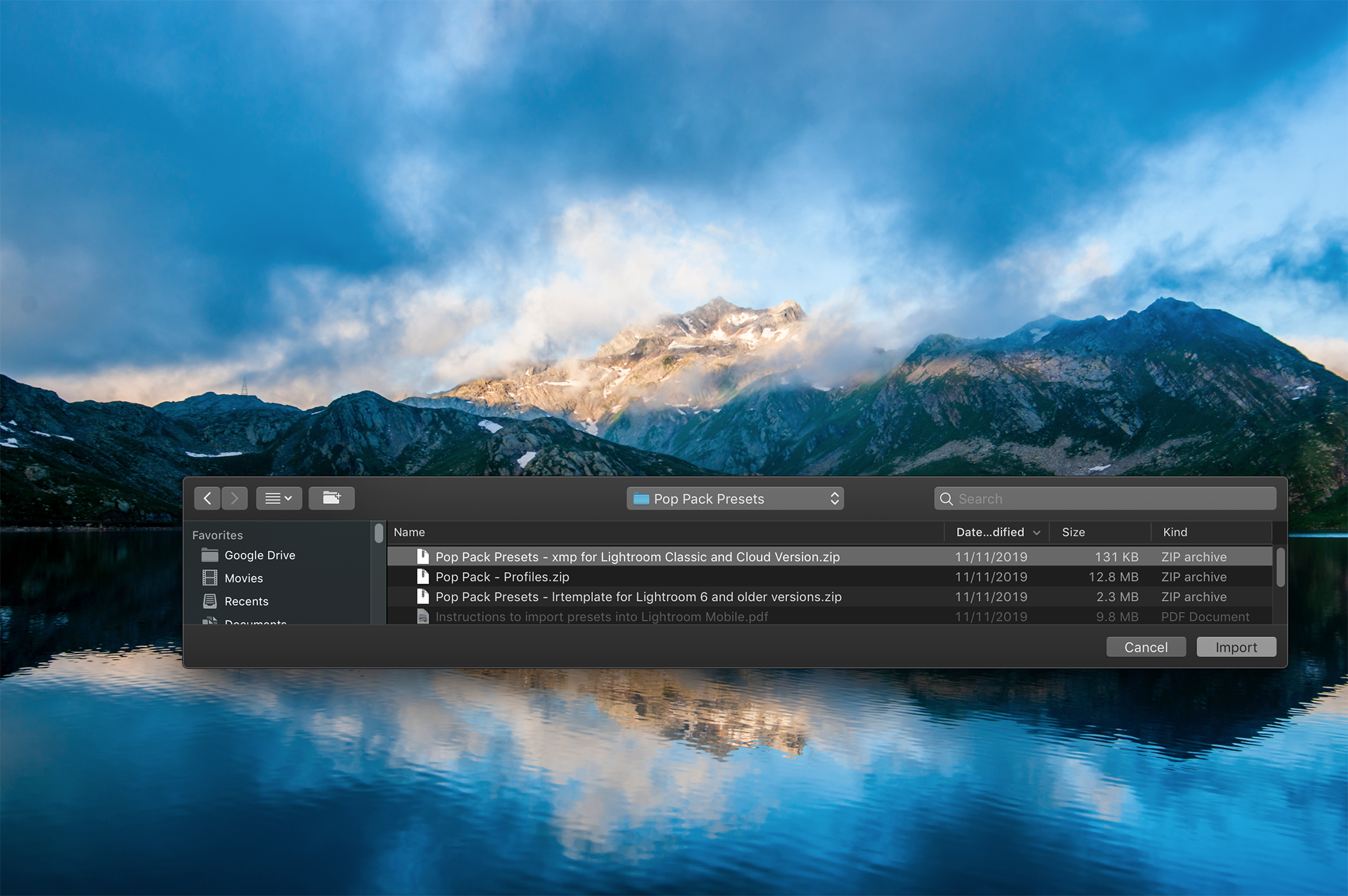 Select-preset-folders-and-click-import