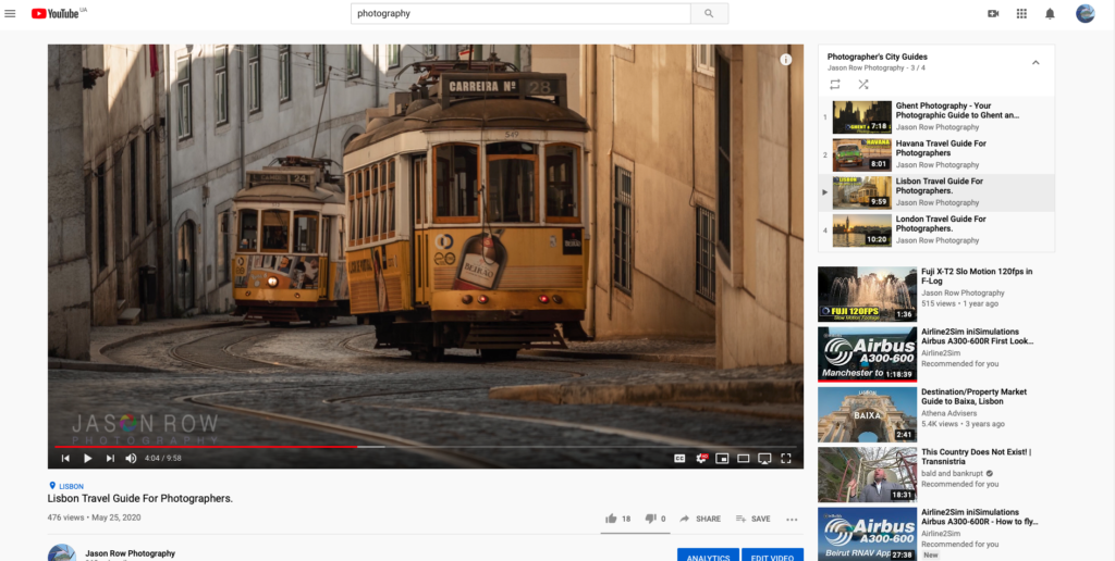 Screenshot of a photographer's city guide on Youtube