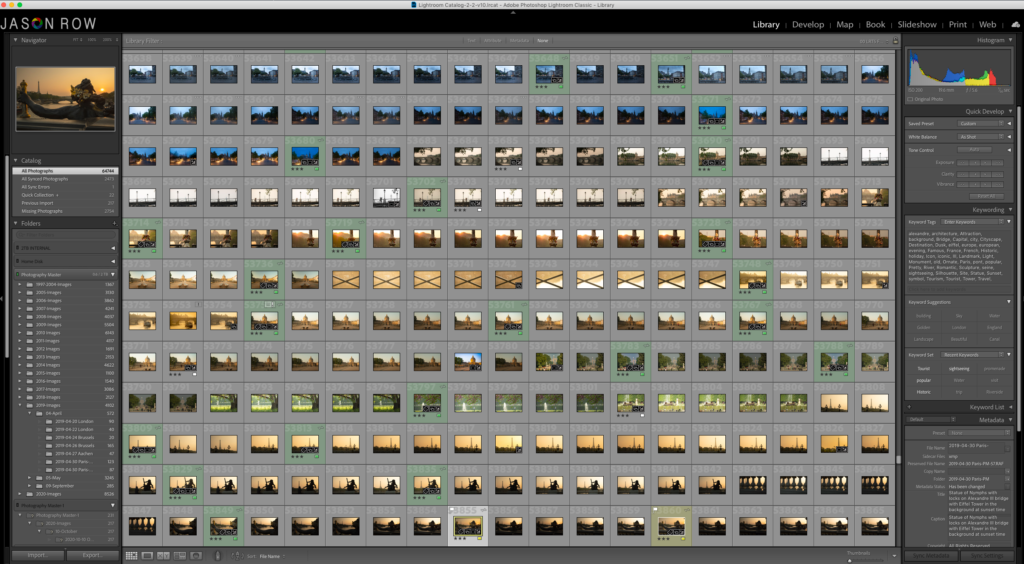 Screenshot of a large Lightroom catalogue.