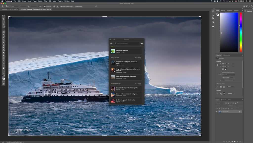 Screenshot of tutorials available within Photoshop