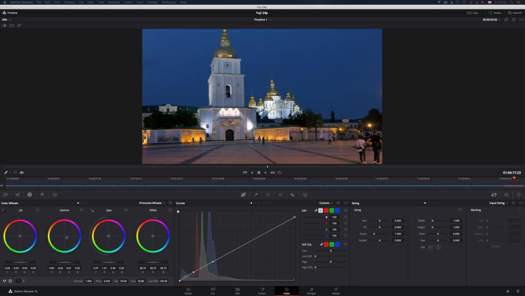 Screenshot of the color module of Davinci Resolve