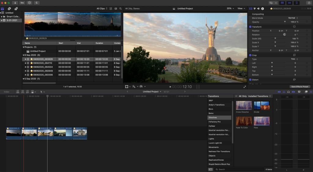 Video clips seen in Final Cut Pro