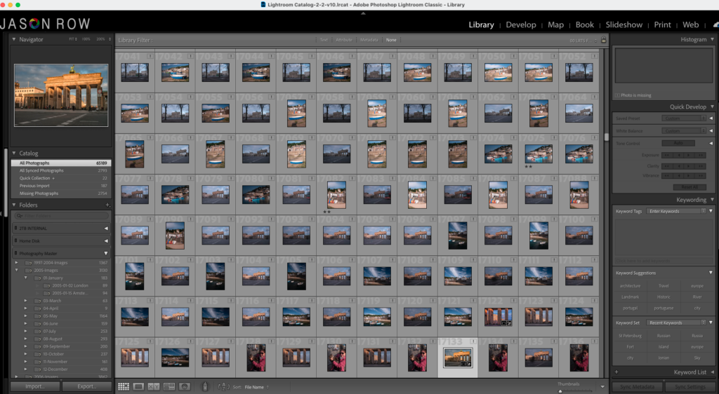 A large Lightroom catalogue displayed on screen