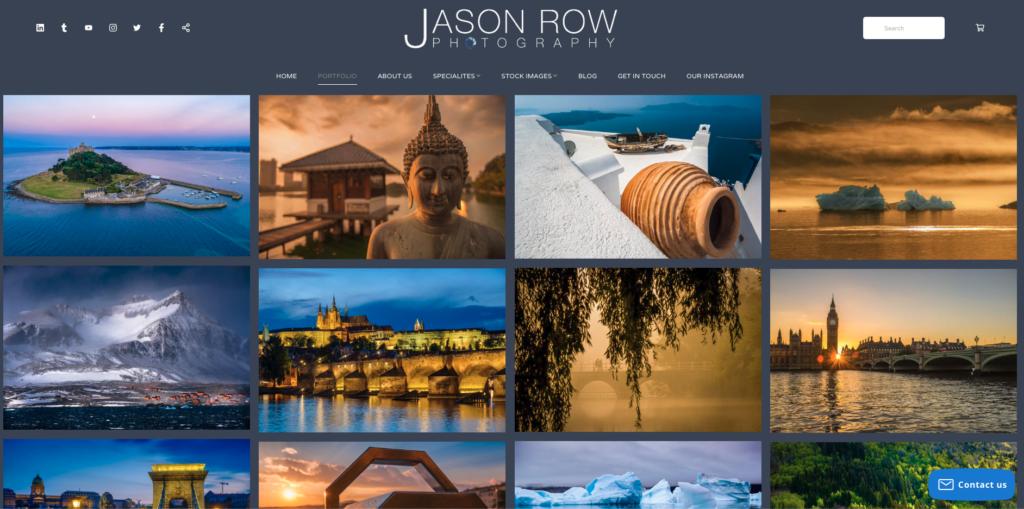 Screenshot of photographers portfolio website