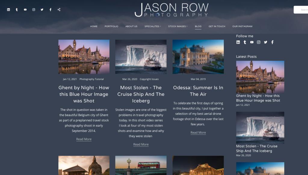 Screenshot of a photographer's blog web page