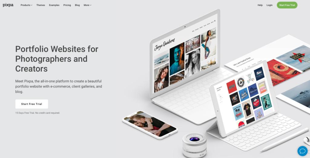Screenshot of Pixpa home page
