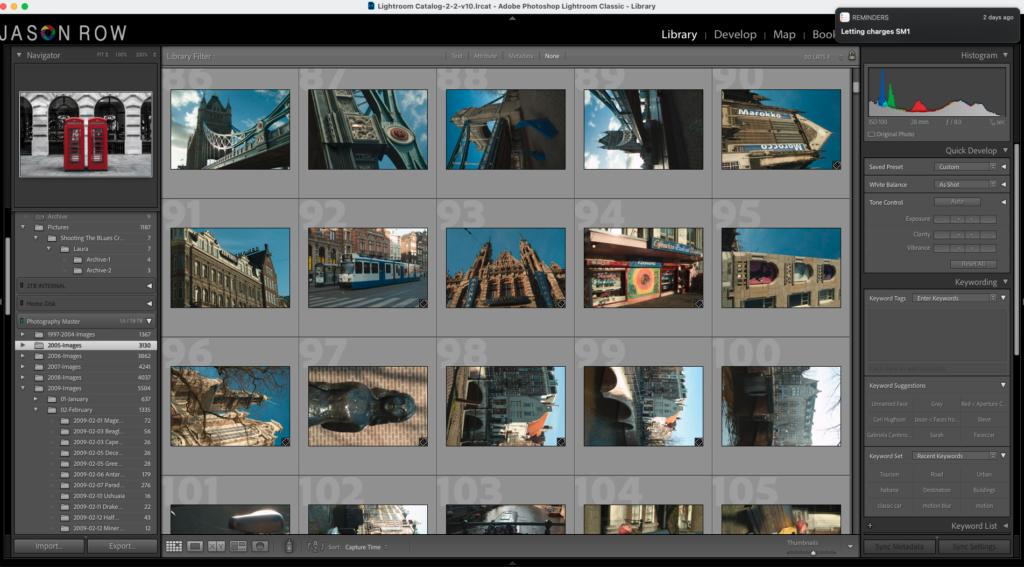 Screenshot of older images in Lightroom