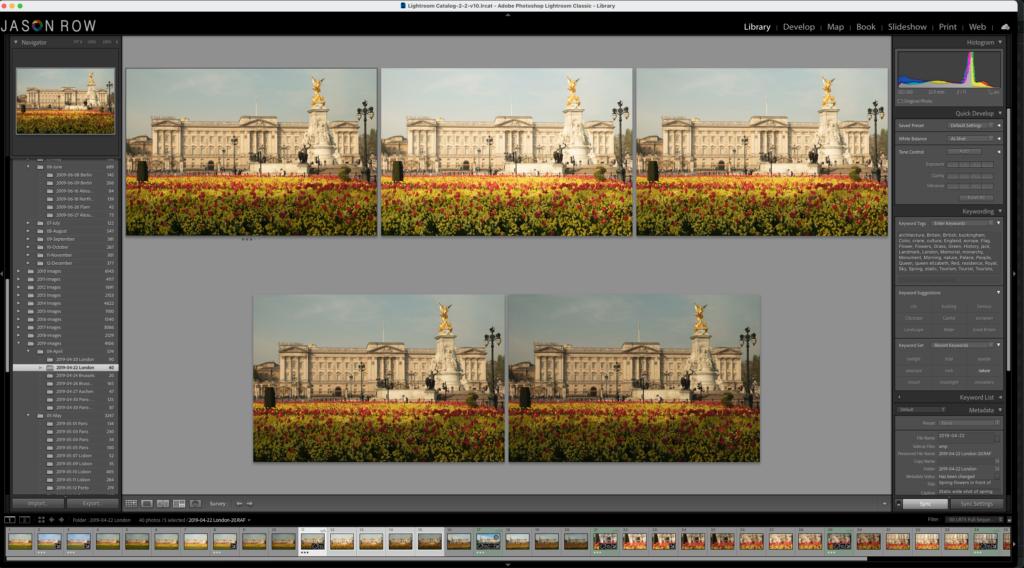 Five shots of Buckingham Palace in Lightroom