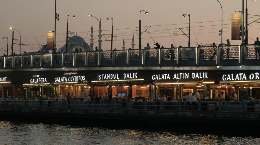 Galata bridge in Istanbul at sunset