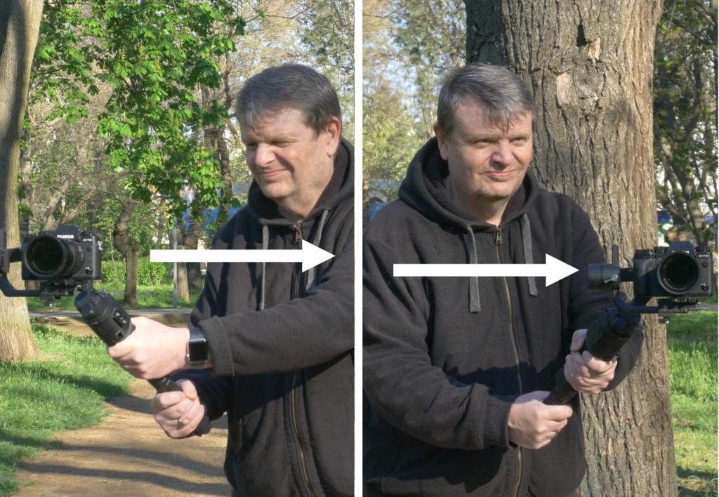 Photographer demonstrating gimbal move