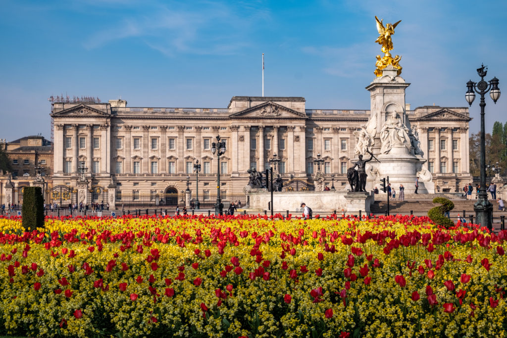 Flowers in front of Buckingham Palace on a spring day
