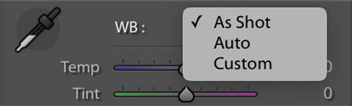 White Balance drop down settings for jpeg files