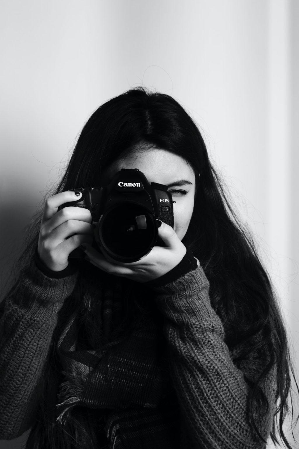 adult beautiful black and white camera