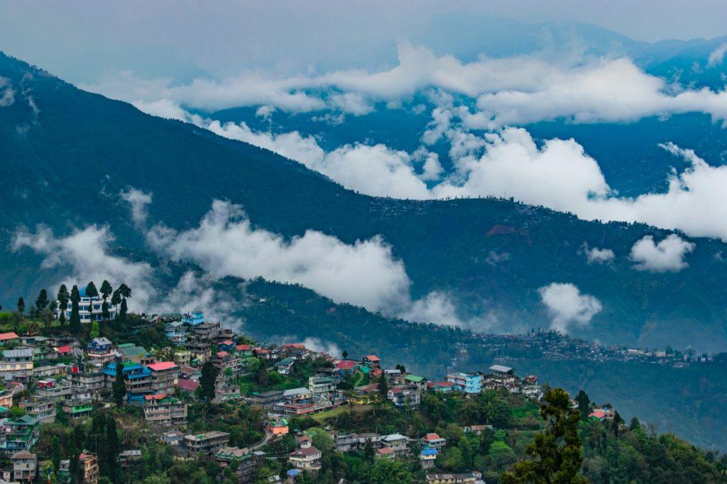 aerial view of city in Darjeeling