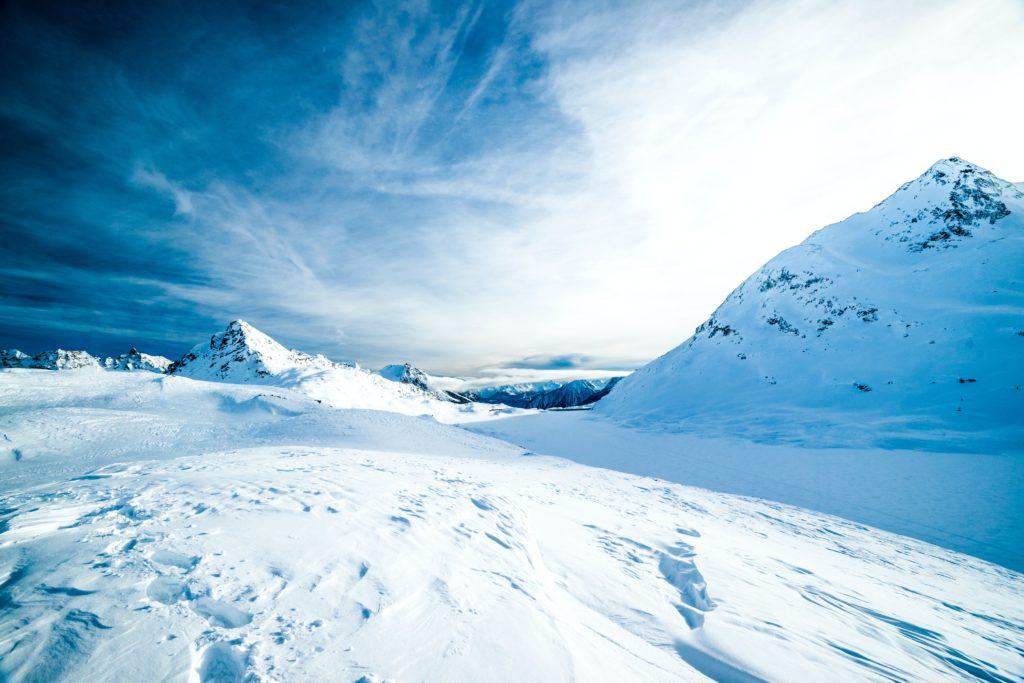 Blue looking snow landscape