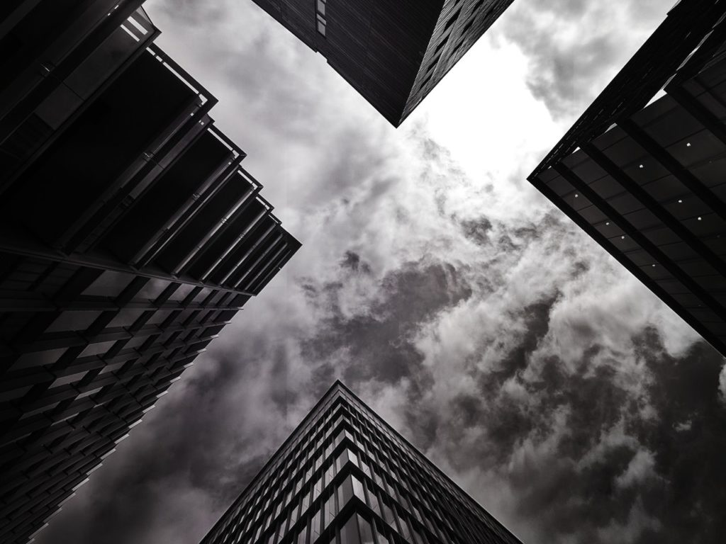 architectural design black and white buildings city