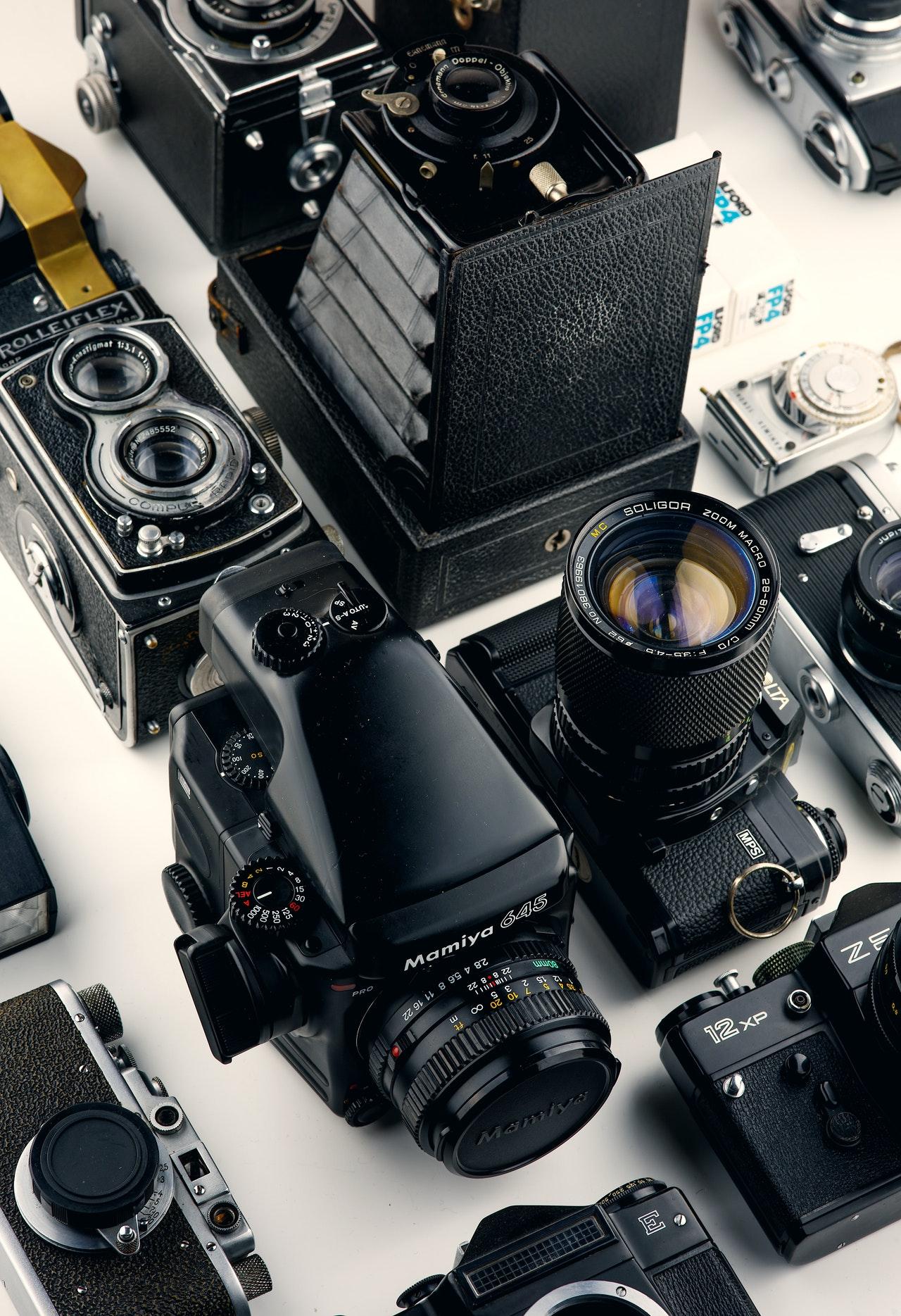 assorted black cameras