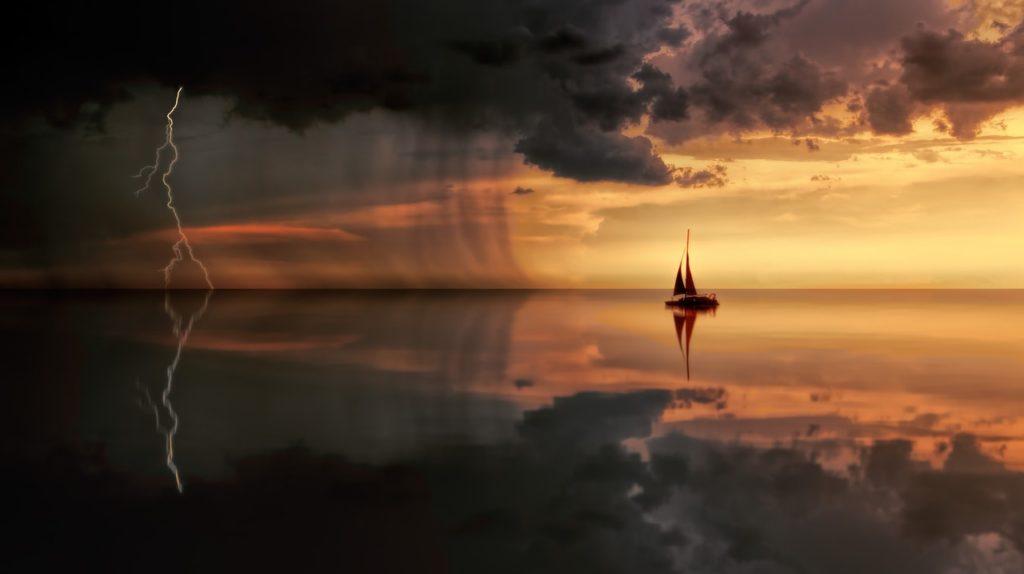 Boat near storm.