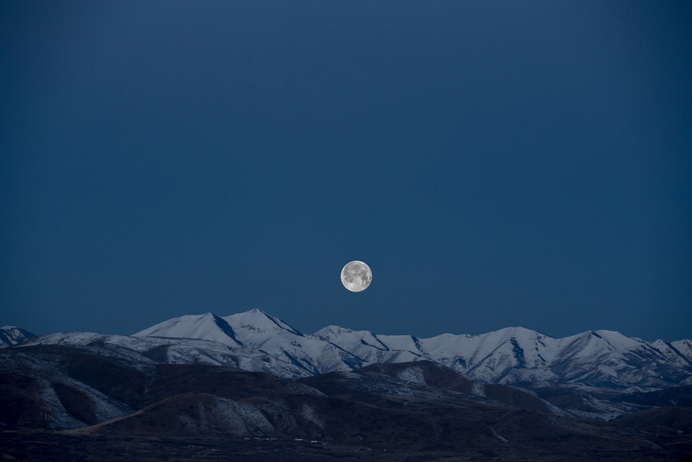 moon, night sky, snow capped mountains