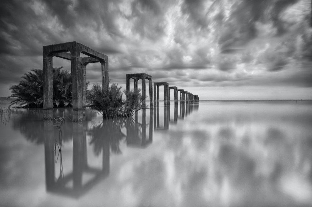 black and white bridge clouds nature