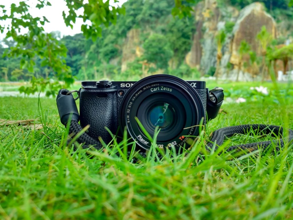 black sony dslr camera on green grass in front of brown and