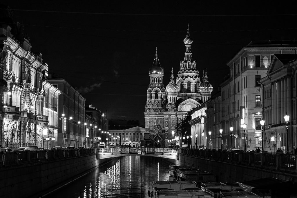 River with city in black and white