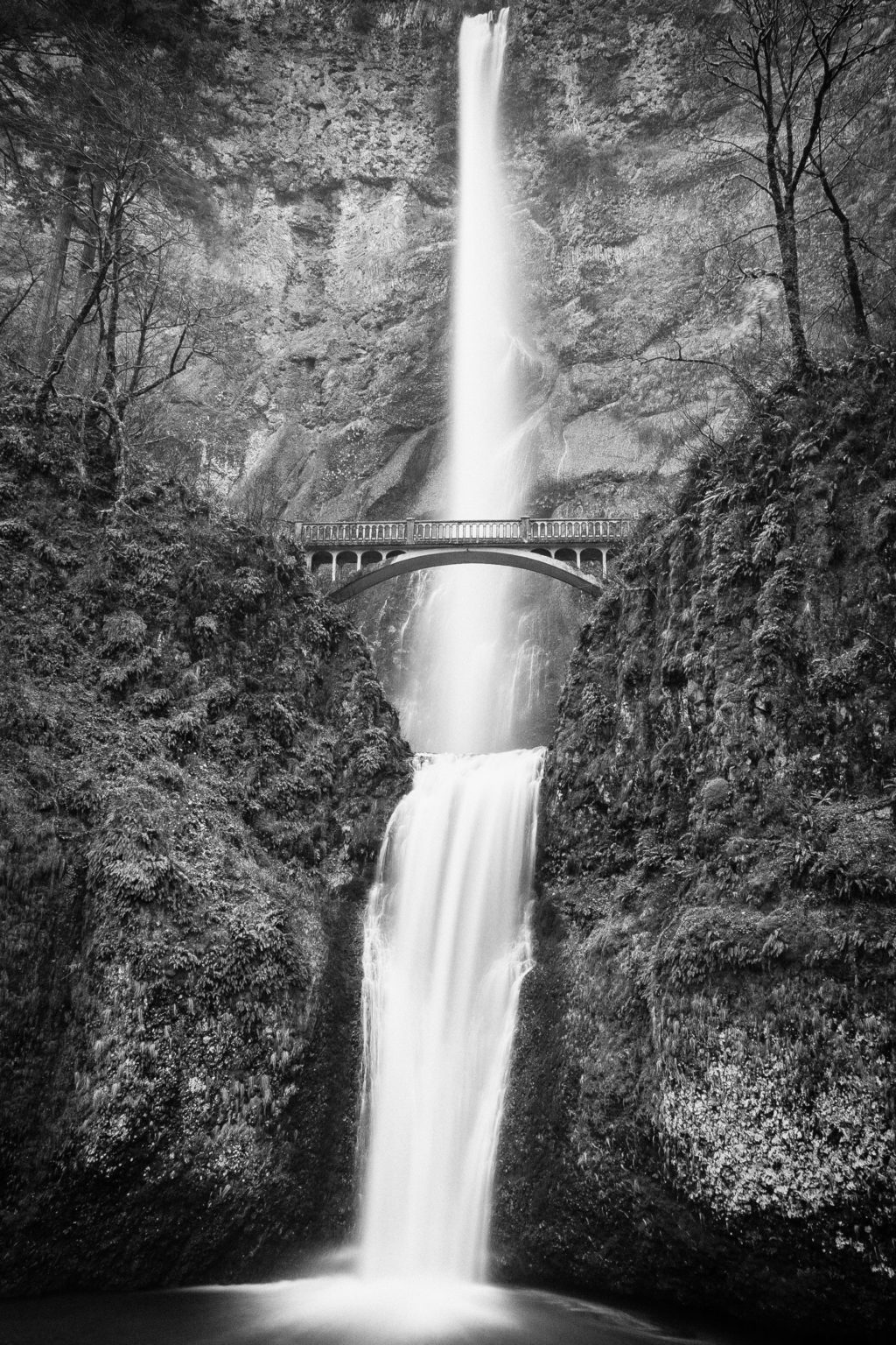 River with waterfall in black and white