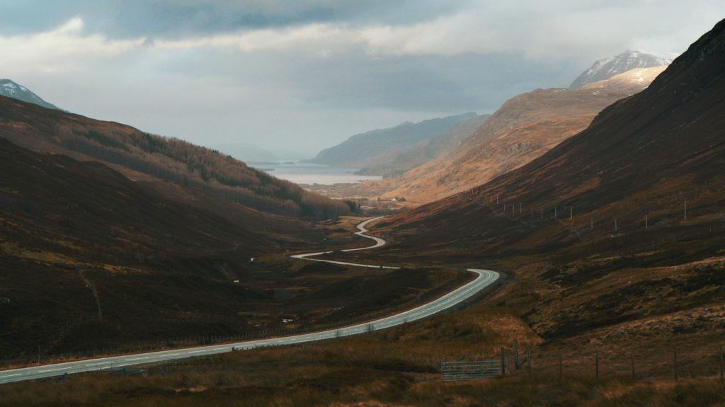 s curve on a landscape
