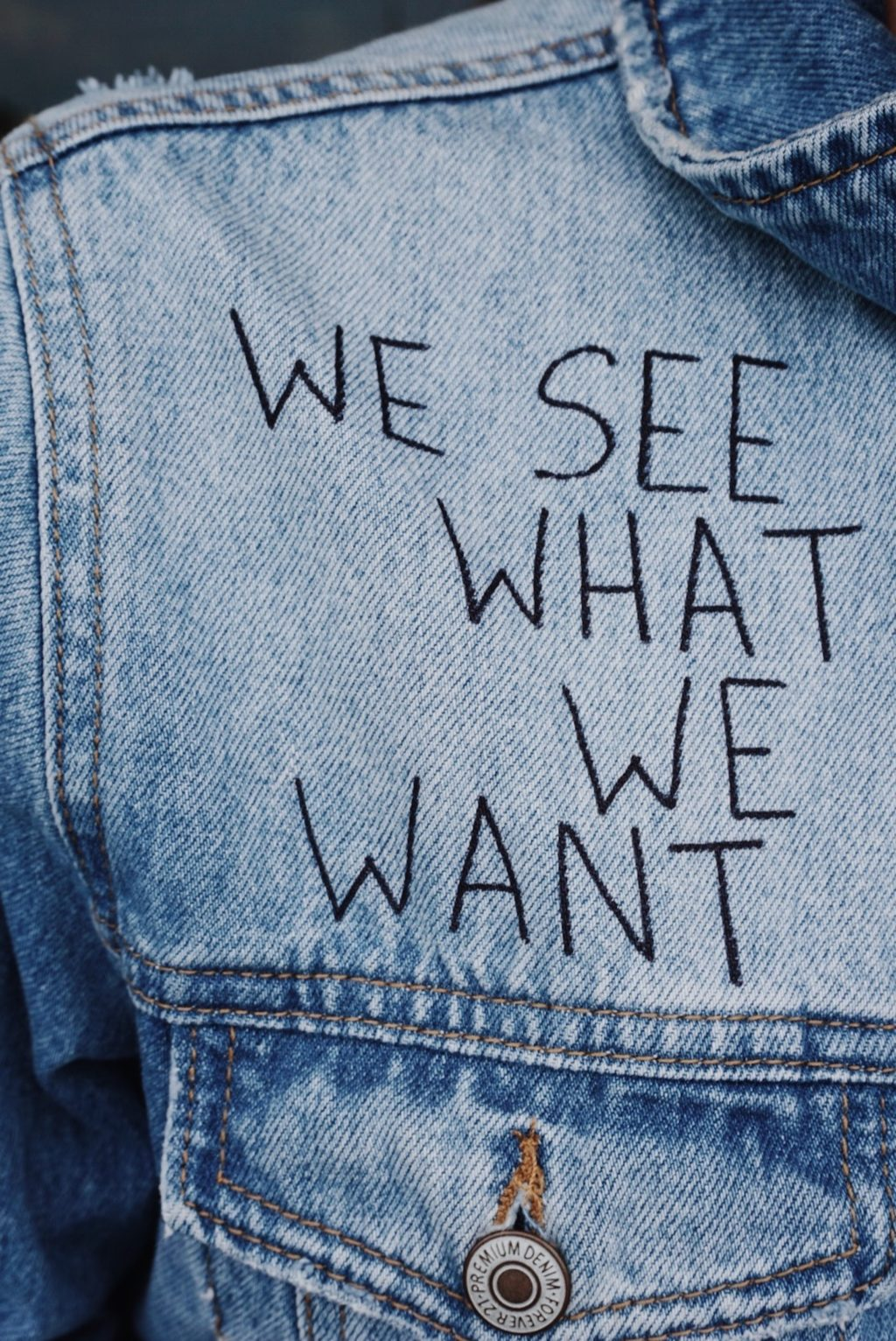 blue denim collared top with we see what we want text