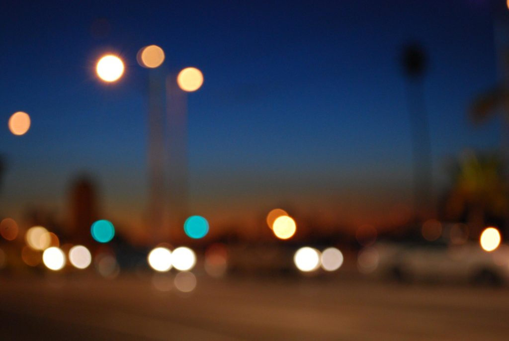 blue hour sunset bokeh